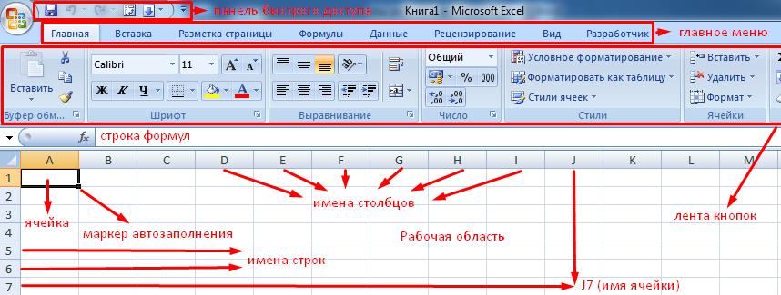 Интерфейс программы Эксель