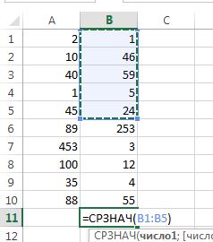 Как сделать формулу в Экселе - СРЗНАЧ