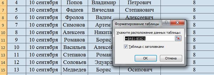 Форматирование таблицы в программе Эксель