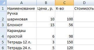Как создать таблицу с формулами в Эксель